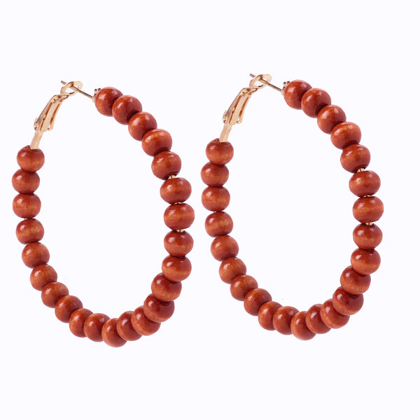Brown Beaded Hoop Earring
