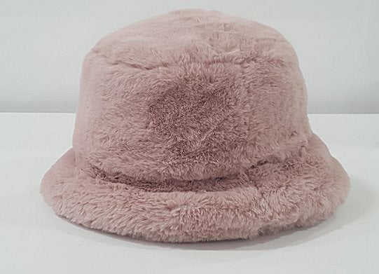 Pink blush Faux Fur Bucket Hat