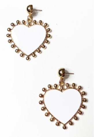 Gold look heart shape earrings
