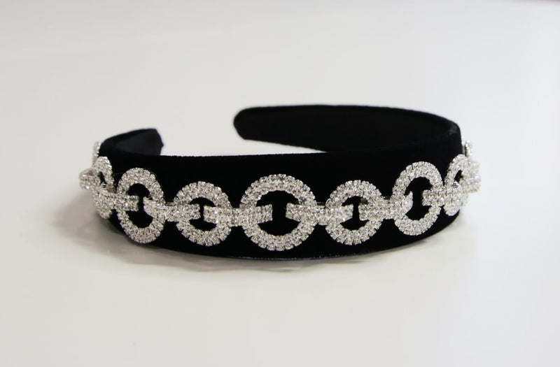 Luxury Black Diamante Circle Detail Headband