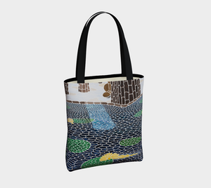 The Lily Pads Unlined Tote Bag with Black Cotton Straps
