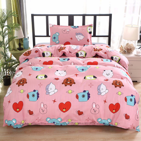 BT21 Design Pink Bedsheet Set