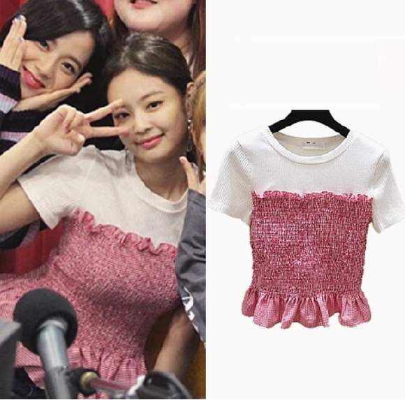 BLACKPINK JENNIE Red White Top Shirt
