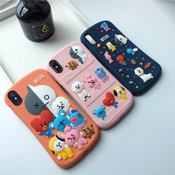 BT21 Family 3D iPhone Case