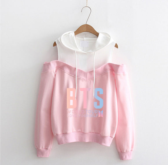 BTS Love Yourself Off-Shoulder Pink Hoodie