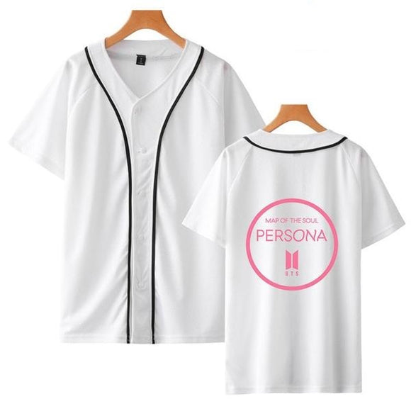 BTS Map Of The Soul Persona Baseball Button Up T-Shirt (White)