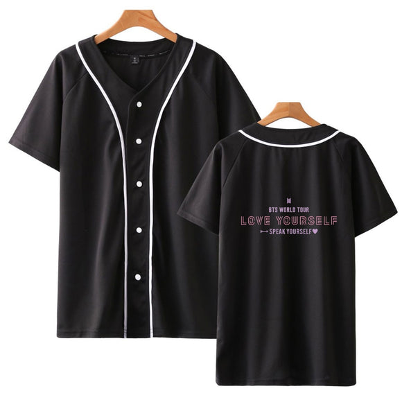 BTS WORLD TOUR LOVE YOURSELF SPEAK YOURSELF Baseball Button Up T-Shirt (2 Colors)