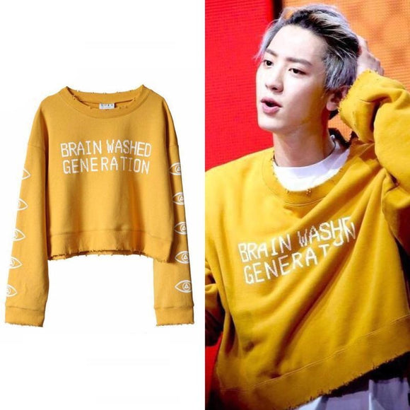 EXO CHANYEOL BRAIN WASHED GENERATION Yellow Brown Cropped Sweater