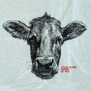 Cow Head T-Shirt - Heather Dusty Blue