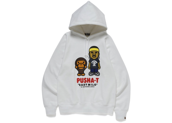 BAPE x Pusha T Baby Milo Pullover Hoodie White