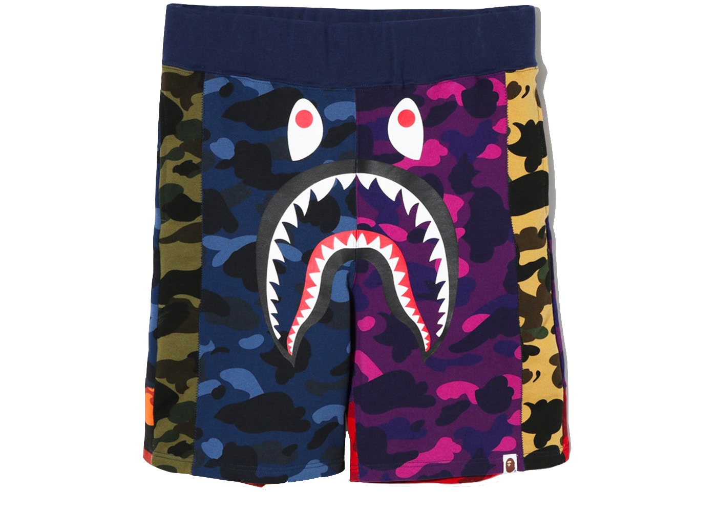 Bape Mix Camo Shark Shorts Multi - Baza Bazaar