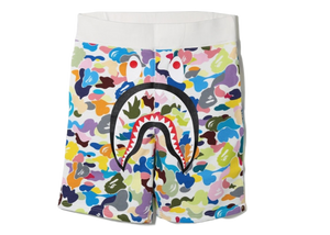 BAPE Multi Camo Shark Sweat Shorts White