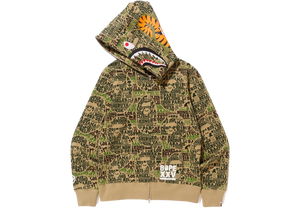 Bape XXV Cities Camo Shark Full Zip Hoodie Green - Baza Bazaar