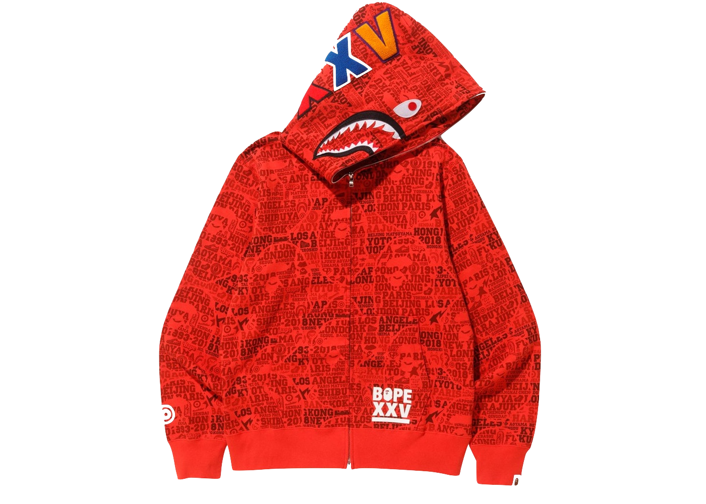 Bape XXV Cities Camo Shark Full Zip Hoodie Red - Baza Bazaar