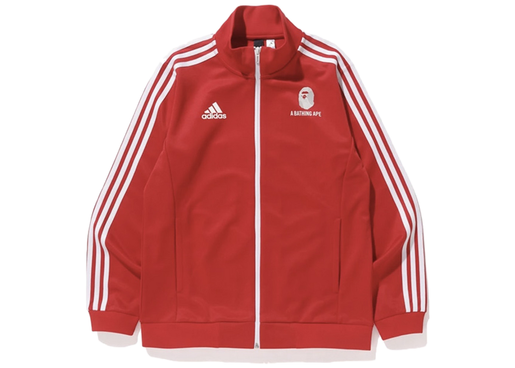 Bape x adidas World Cup 2018 Winning Collection Zip Up Track Jacket Red - Baza Bazaar
