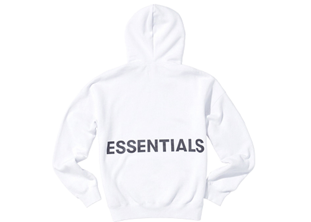 Fear of God Essentials Graphic Pullover Hoodie White - Baza Bazaar