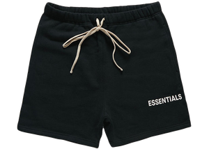 Fear of God Essentials Graphic Sweat Shorts Black - Baza Bazaar