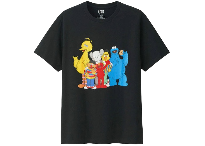 KAWS x Uniqlo x Sesame Street Group #2 Tee Black