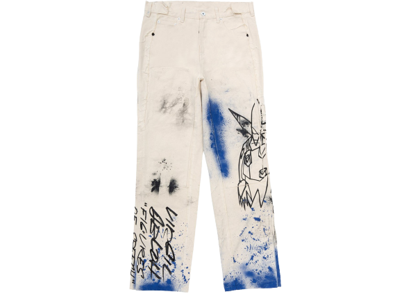 OFF-WHITE x Futura Washed Carpenter Denim Pants White/Multicolor