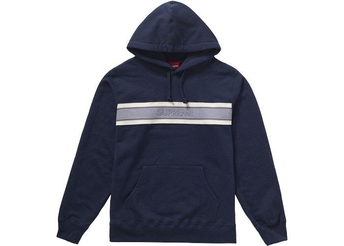 Supreme Chest Stripe Logo Hooded Sweatshirt Navy