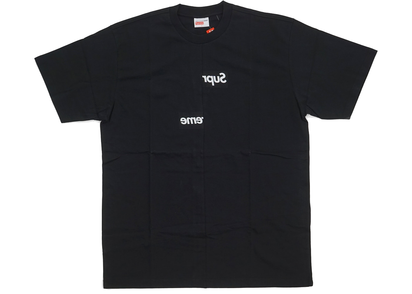Supreme Comme des Garcons SHIRT Split Box Logo Tee Black - Baza