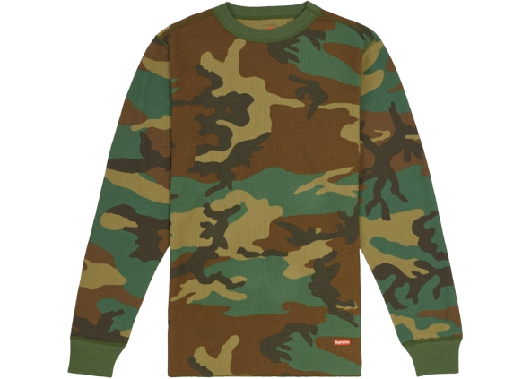 Supreme Hanes Thermal Crew (1 Pack) FW19 Woodland Camo