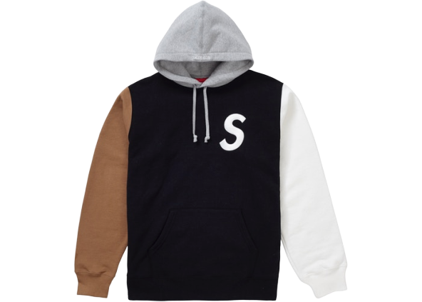 Supreme S Logo Colorblocked Hooded Sweatshirt Black