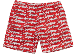 Supreme Signature Script Logo Water Short Red