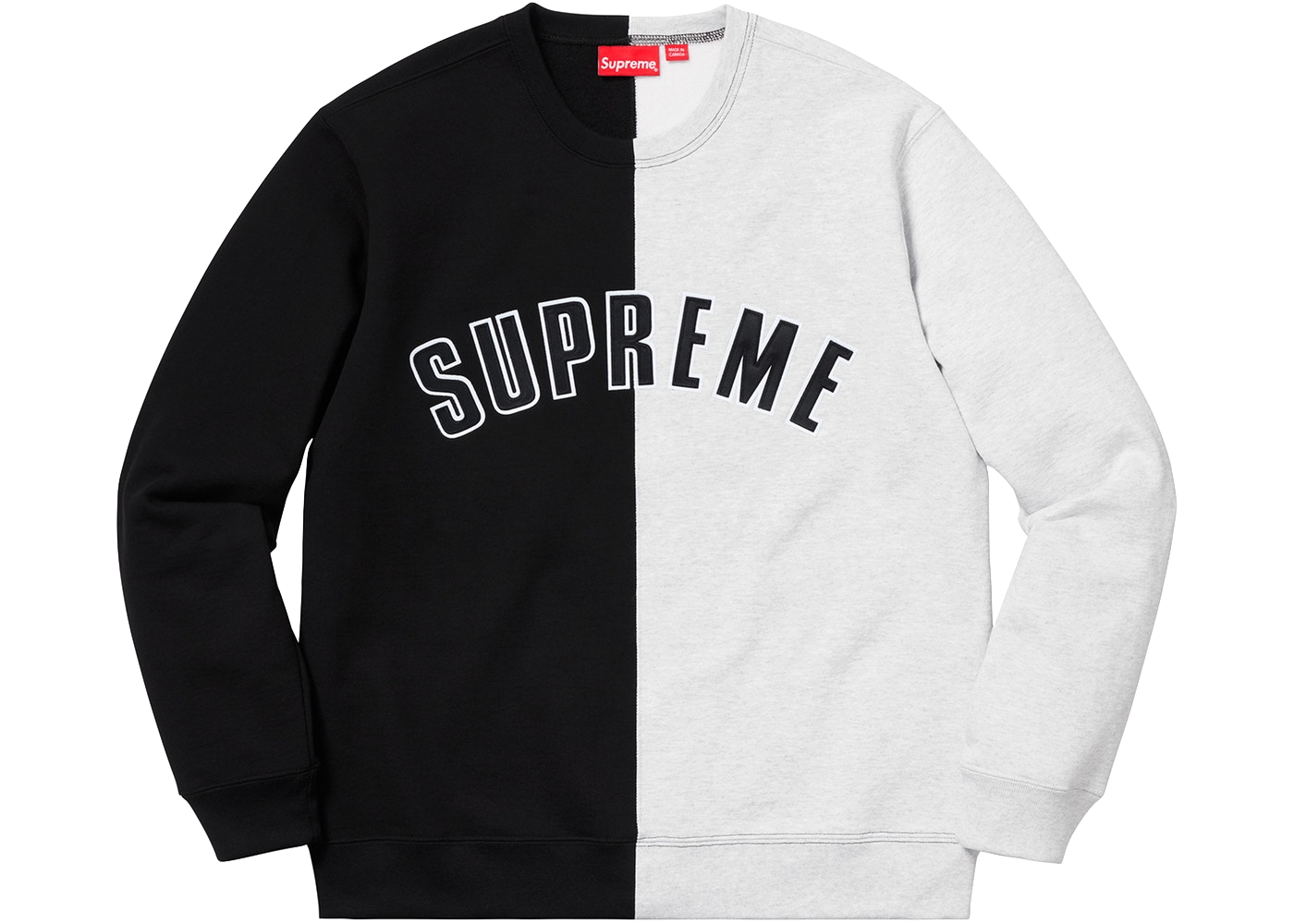 Supreme Split Crewneck Sweatshirt Black - Baza