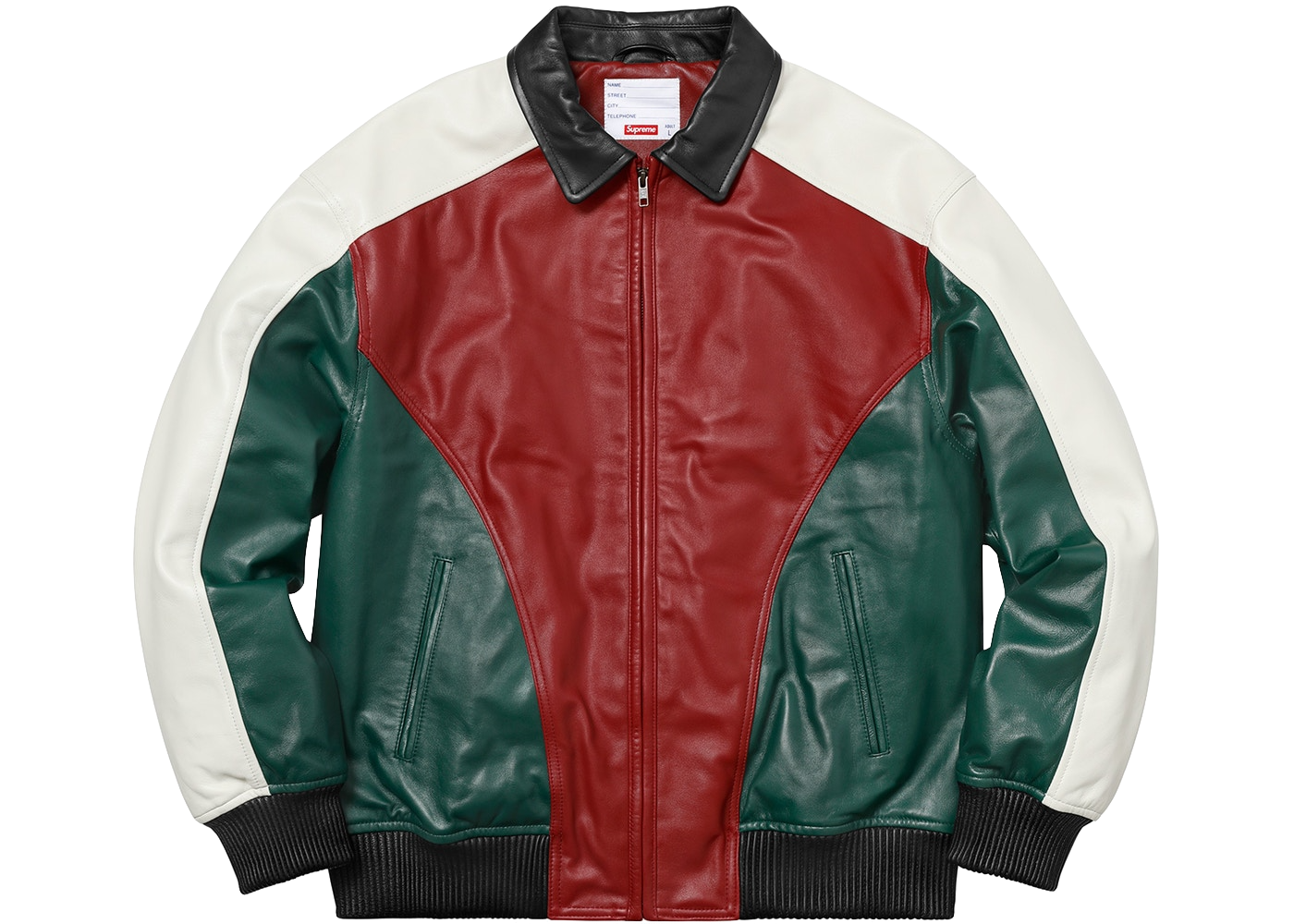 Supreme Studded Arc Logo Leather Jacket Red - Baza