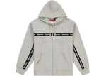 Supreme Text Stripe Zip Up Hooded Sweatshirt Heather Grey