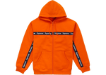 Supreme Text Stripe Zip Up Hooded Sweatshirt Orange