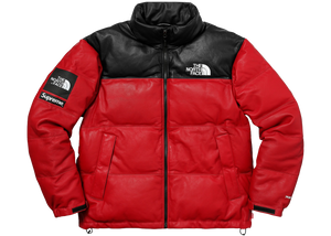 Supreme The North Face Leather Nuptse Jacket Red - Baza
