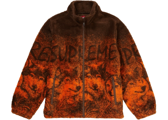 Supreme Wolf Fleece Jacket Brown