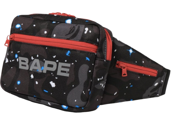 BAPE Space Camo Waist Bag Black