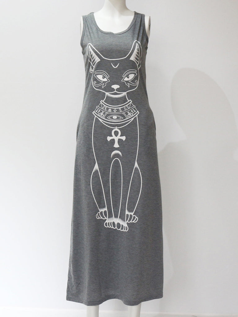135a58d0de4 ... Casual A-line Cats Pockets Sleeveless Plus Size Maxi Dress -  fashionnana ...