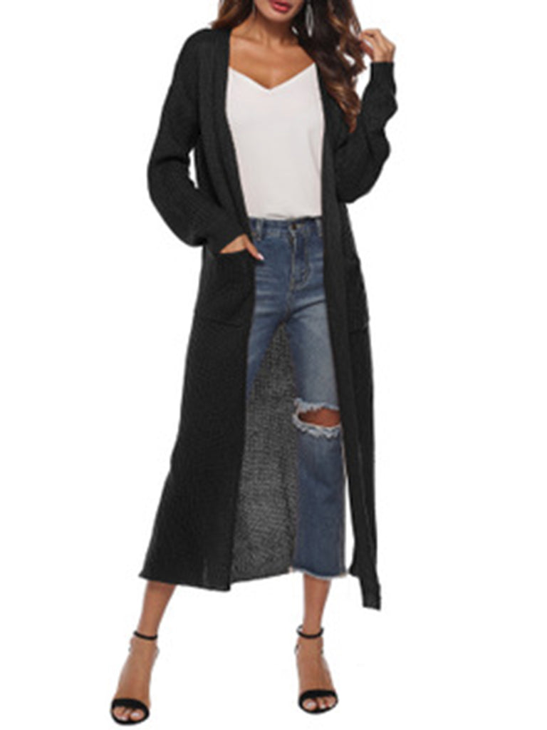 Fashionnana Casual Solid Large Pocket Thick Long Sweater Coat