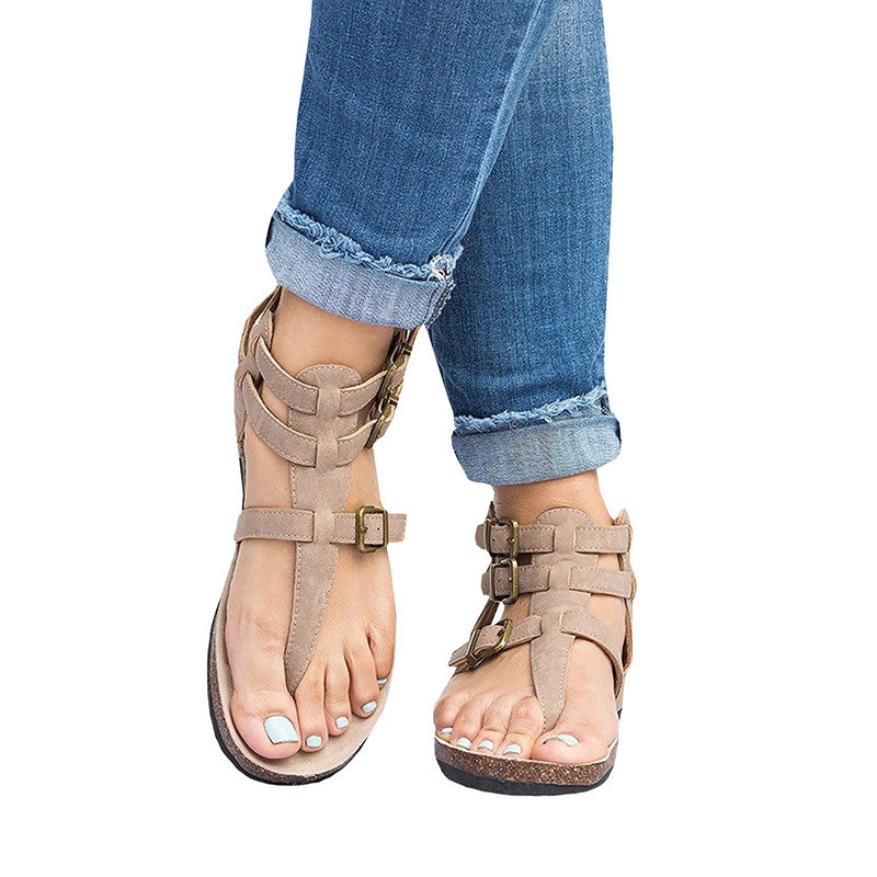 678af5143eaed ... Ankle Strap Buckle Flip Flop Gladiator Thong Flat Sandals - fashionnana  ...