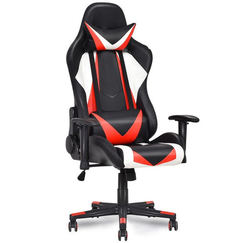 High back Reclining Gaming Chair- Orange & White