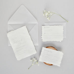Indian Cotton Deckle Wedding Invitation Suite