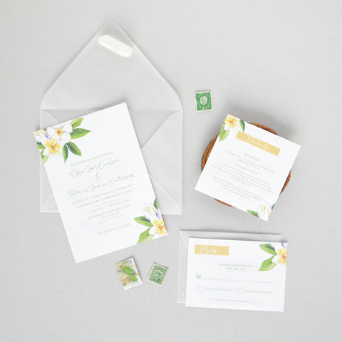 Plumeria Wedding Invitation Suite