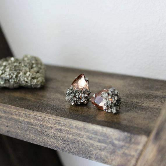 Champagne Pyrite Dipped Studs - Fox Trot Boutique