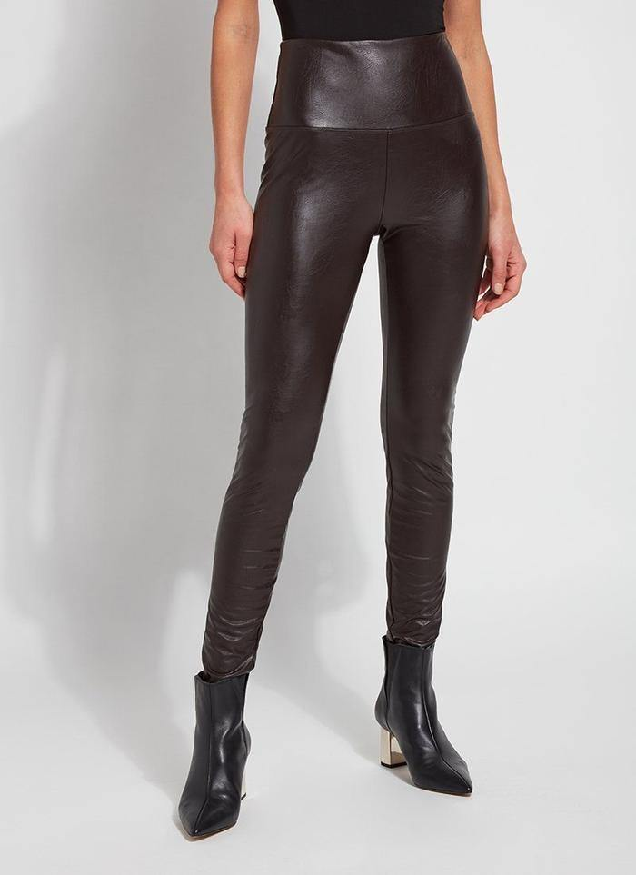 Textured Leather Leggings - Double Espresso - Fox Trot Boutique