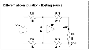 Differential configuration for LM3886