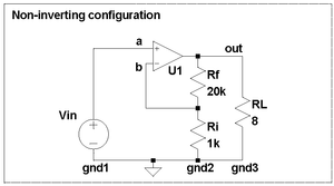 Non-inverting configuration for LM3886