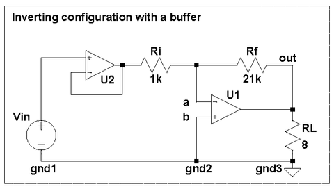 Inverting amplifier with buffered input