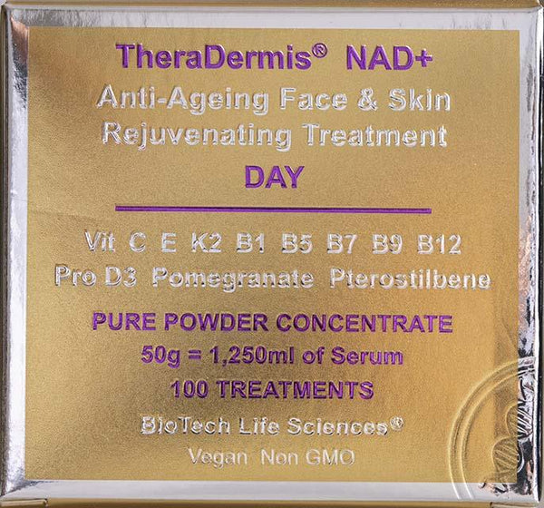 Anti-Ageing Face & Skin Rejuvenation - NAD+ (sensitive skin) Beauty BioTech Life Sciences DAY: 100 Treatments 3-6 months + Vit C, Green Tea & Beta Glucans + 180 x Vit E