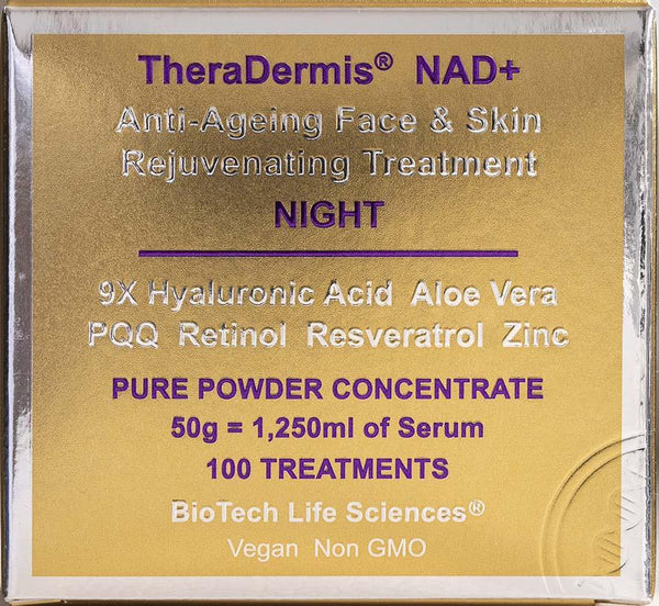 Anti-Ageing Face & Skin Rejuvenation - NAD+ (Sensitive Skin) Beauty BioTech Life Sciences NIGHT: 100 Treatments 3-6 months + Retinol, Aloe Vera & Hyaluronic Acid + 180 x Vit E