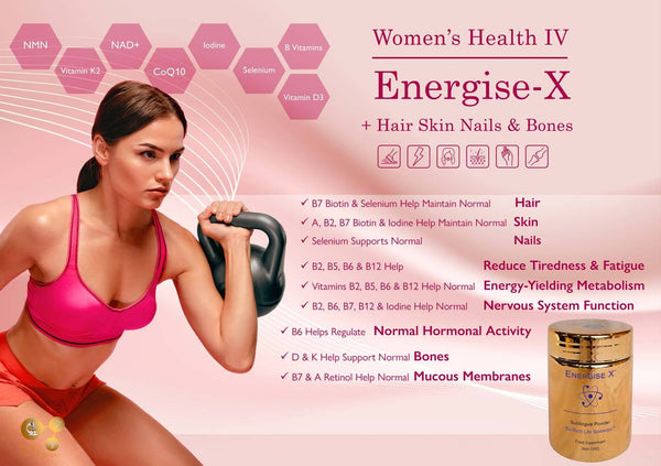 Energise-X - (max strength powder) Increase Energy, Reduce Tiredness & Fatigue + Hair, Skin Nails & Bones Womens Health BioTech Life Sciences