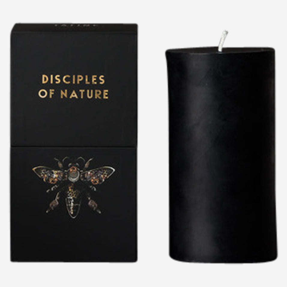Black Beeswax Pillar Candle